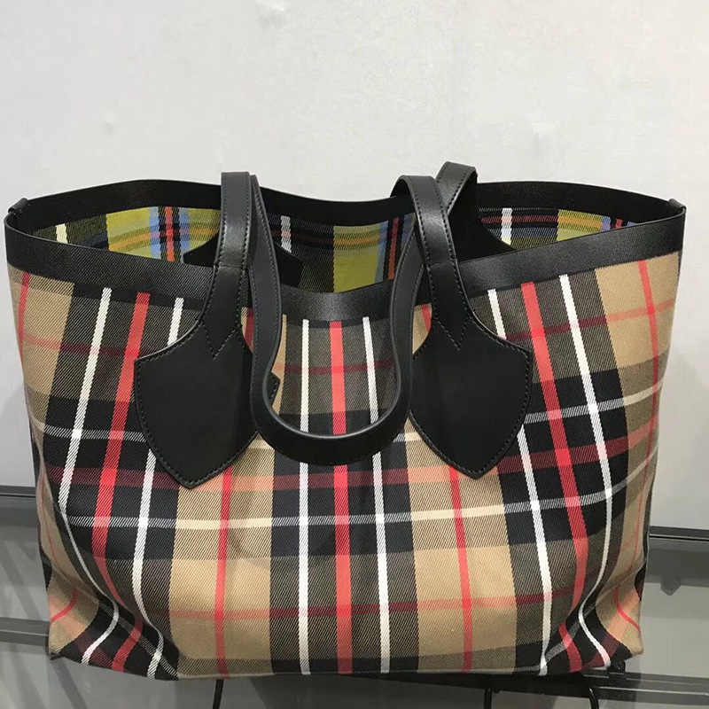 Ms. New Contrast Colored Leather Tote Bag Relaxed Geometric Pattern Large Volume Exposure Reversible Two Shopping Bags biodynamic craniosacral therapy volume two