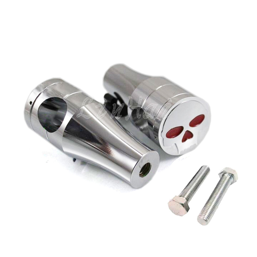 Motorcycle 1 25mm Chrome Billet Skull Handlebar Risers Clamp For Harley Softail Springer Bobber Chopper