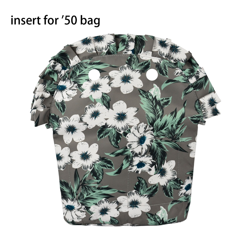 2018 Frill Pleat Lining Zipper Pocket For Obag 50 Floral Composite Cloth Insert With Inner Waterproof Coating For O Bag 50