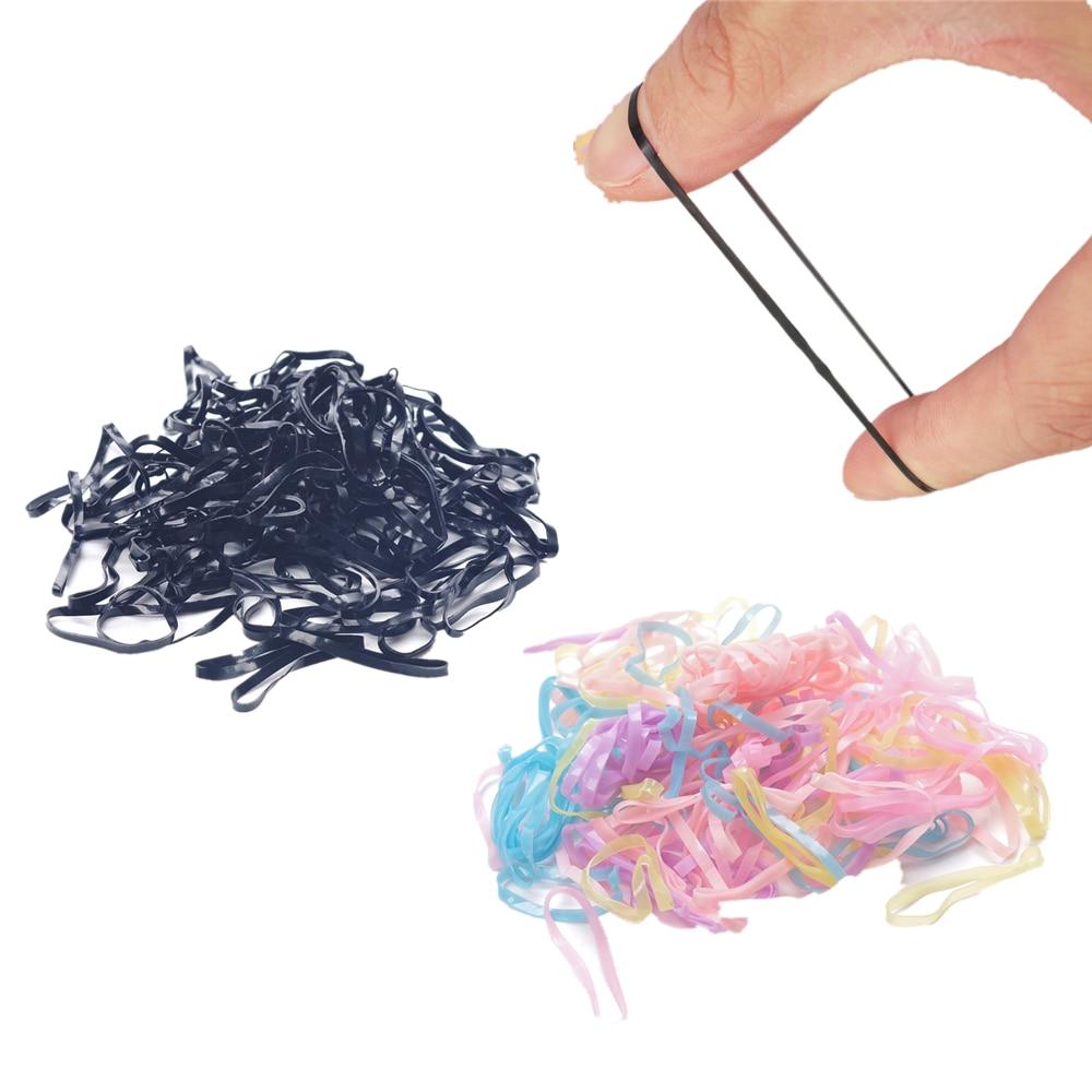 300 unidades/pacote Preto Coloful Gravata Faixa de Cabelo de Borracha Elástica Tranças de Cabelo Cordas Anel Bind Ferramenta Braiders Cabelo Hairband