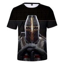 3D Templar Knight T Shirt Black Wid Summer Breathable Men/Women Tshirt Short Sleeve Mark Print Leisure Boys Cool Top
