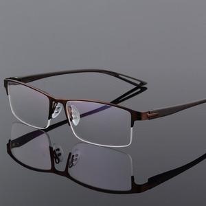 Image 2 - TR90 Titanium Alloy Glasses Frame Men Semi Rimless Square Eye Glass Prescription Eyeglasses Myopia Optical Frames Korean Eyewear