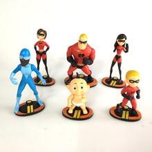 6pcs/set Super Man The Incredible 2 Mr. Incredible Dash Parr Jack Parr Elastigirl Pvc Action Figure Toys 7-10cm todd parr the family book