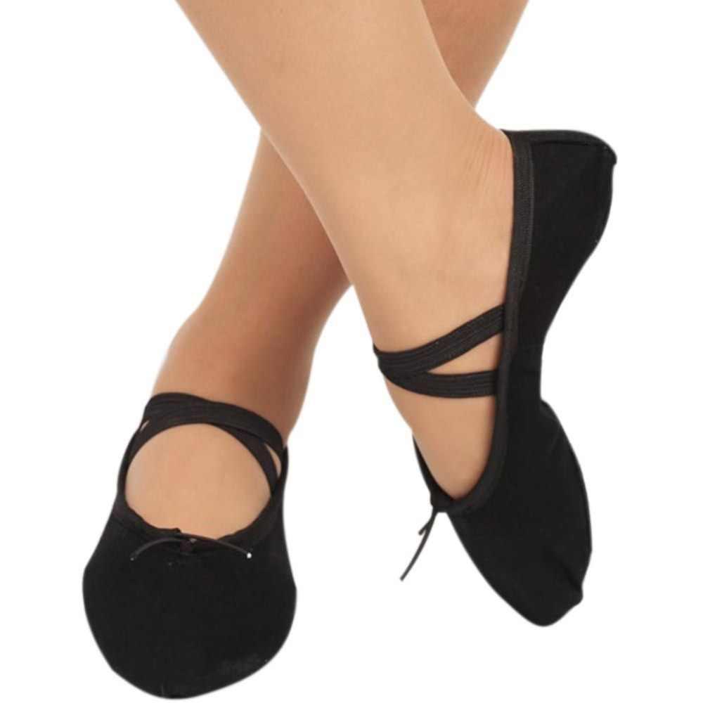 New Trong Nhà Màu Đen Vải Đầu Cô Gái Mềm Duy Nhất Giày Nhảy 2018 Phụ Nữ's của Nhảy Múa Ba Lê Giày Kích Thước 30- 41 W1