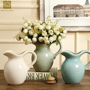 Современные скандинавские вазы, керамическая фарфоровая ваза, вазы для цветов, для дома, имитация, Jarrones, ваза для цветов, для свадебного укра...
