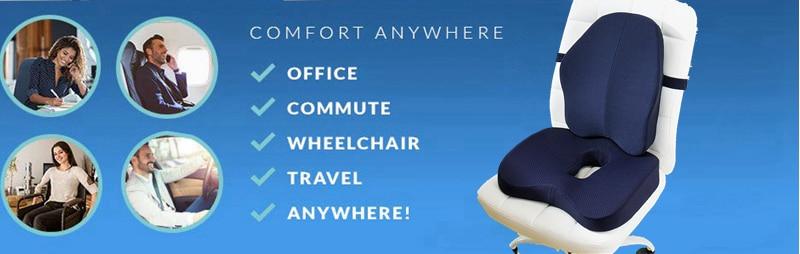 HTB1ZAqnadzvK1RkSnfoq6zMwVXag Non-Slip Orthopedic Memory Foam Seat Cushion for Office Chair Car Wheelchair Back Support Sciatica Coccyx Tailbone Pain Relief