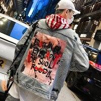 Streetwear Graffiti Jeans Jacket Men 2019 Spring New Hip Hop Letter Printing Mens Denim Jacket Ripped Patchwork Male Overcoat
