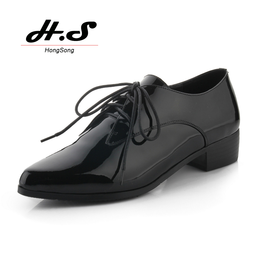 British Vintage style Patent leather Women Dress Shoes Pointed Toe Oxfords  Ladies Derby Shoes Flats Chunky Heels Oxford Shoes 959dcdb3cb