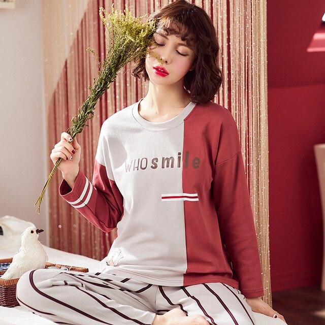 3651044cf2 Spring Autumn 2019 Women Pyjamas 100% Cotton Long Tops Set Loose Leisure  Yellow Pajamas Sets Nightshirt Sleepwear for Women