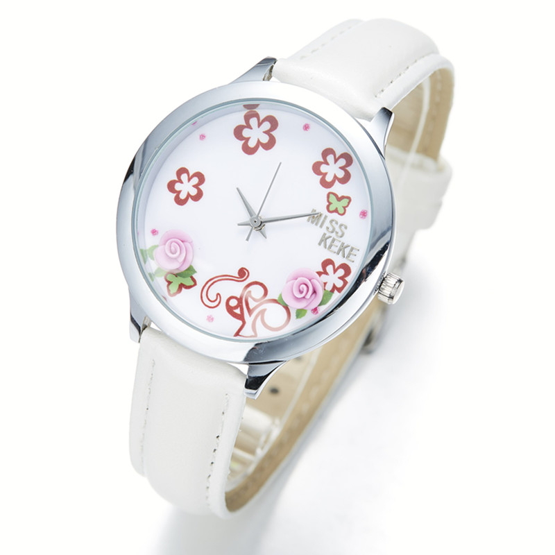 3D Clay Cute Mini World Floral Watches Relogio Feminino Ladies Women Quartz Leather Wristwatches011