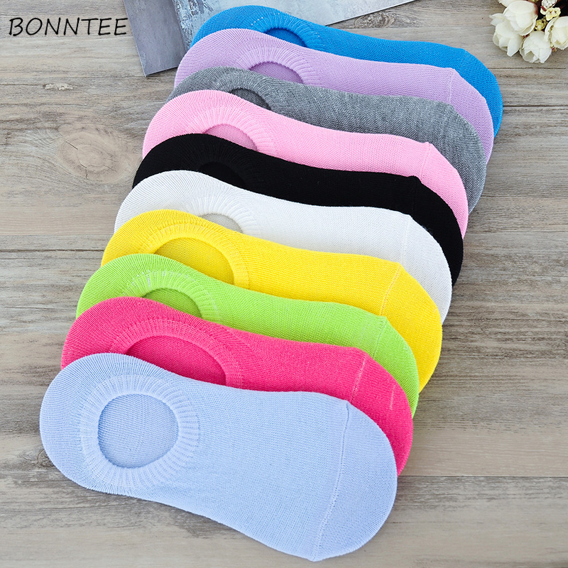 Sock Slippers Women Solid Korean Style Simple Trendy All-match Thin Womens High Elasticity Breathable Students Various Color New