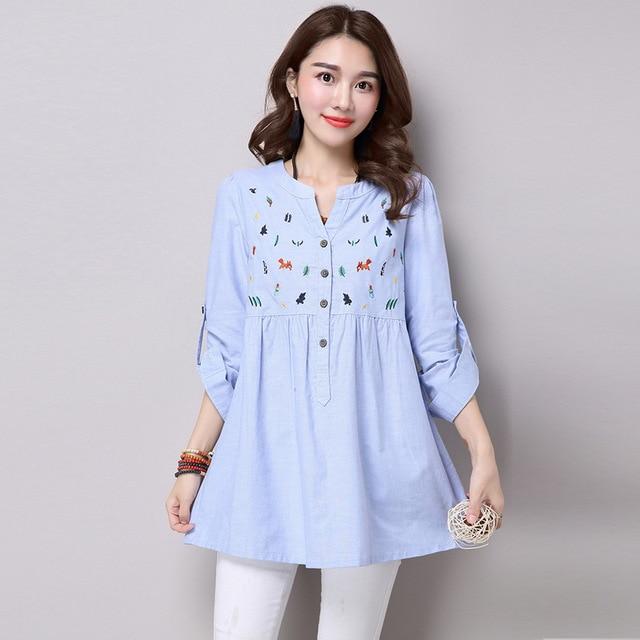2016 Весна Осень Новый Голубой Вышивка Хлопок Белье С Длинным Рукавом Плиссированные Рубашка Мода Женщины Повседневная Кимоно Блузка