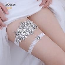 TOPQUEEN THS01 TH21 Свадебные Подвязки Стразы Вышивка цветок Бисероплетение белые сексуальные подвязки для женщин/невесты Бедро кольцо