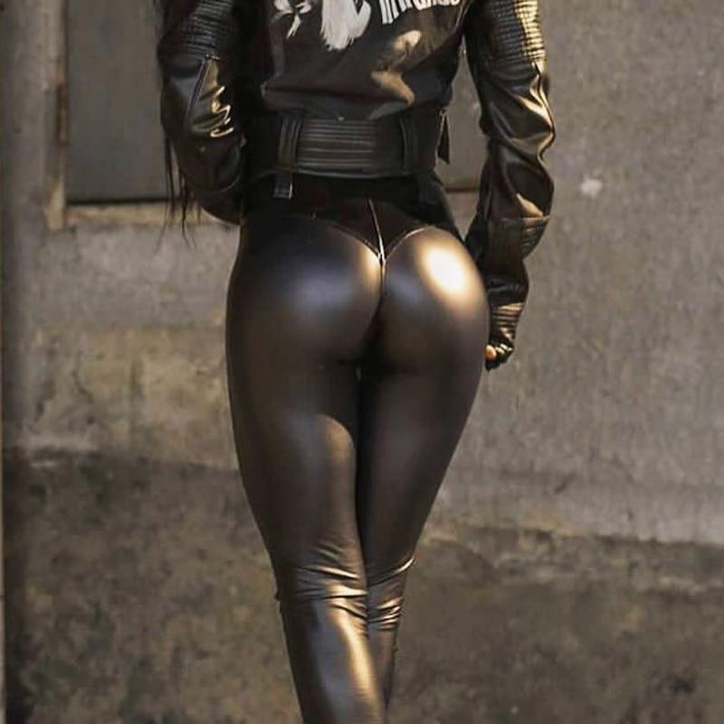 Helisopus Women Push Up Hip Skinny Leggings Female Elastic PU Pencil Pants Sexy Autumn Winter Trousers