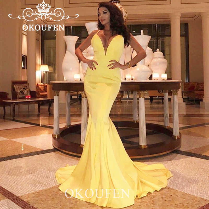 Yellow Satin Mermaid Bridesmaid Dresses Long 2019 Spaghetti Strap Cheap Wholesale Price Party Dress Maid Of Honor For Women