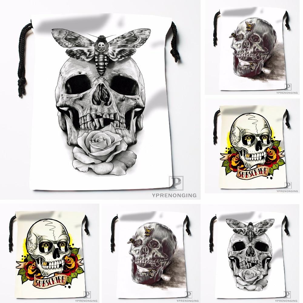 Custom Sketch Skull Butterfly Drawstring Bags Travel Storage Mini Pouch Swim Hiking Toy Bag Size 18x22cm#0412-04-224