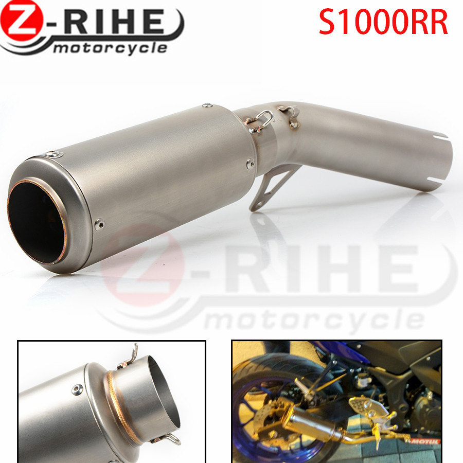 for BMW S1000RR 2014 2015 2016 14 15 16 Motorcycle Exhaust Muffler Pipe Escape Motorbike Exhaust Mid Link Pipe and End Pipe 61MM