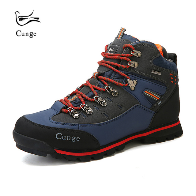 Hot Sale Men Hiking Shoes Waterproof Leather Non-slip Outdoor Shoes Breathable Foot Protection Trekking Shoes Boots 3 Colors
