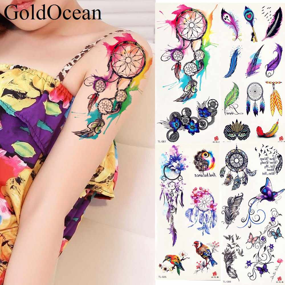 Watercolor Dreamcatcher Tattoo Waterproof Fake Flash Tattoo Stickers Girls Body Arm Art Tatoo Feather Women Makeup Arm