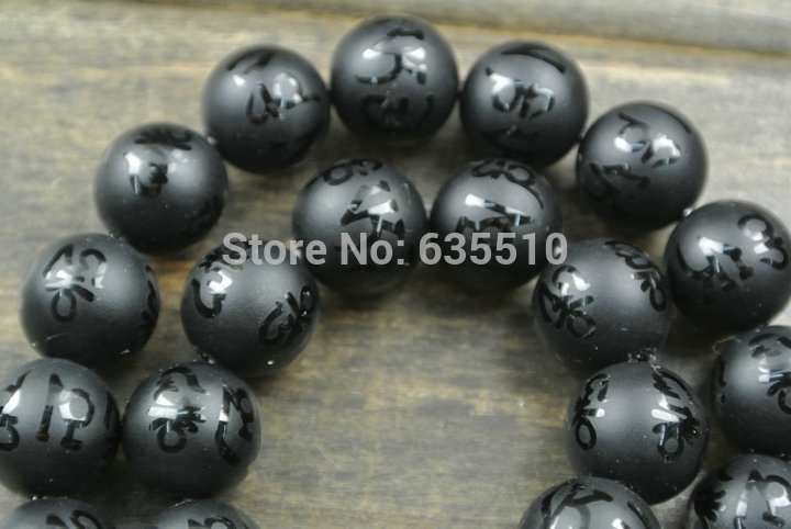 1 strand Om mani padme hum Matte Onyx Carved Words 10mm Stone Round Beads Buddhist Mala Prayer Beads