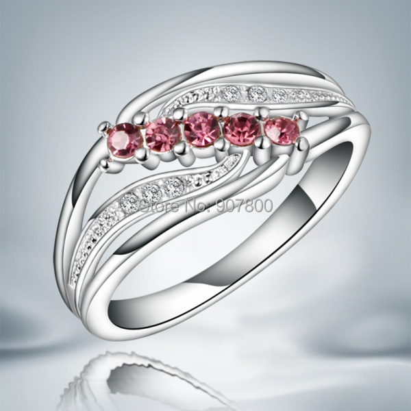 JR045 beautiful design Austrian Crystal Silver Ring classic
