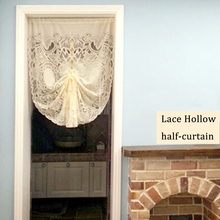 85x150cm short curtains white lace gauze drawstring curtain for living room kitchen cabinet leaf half