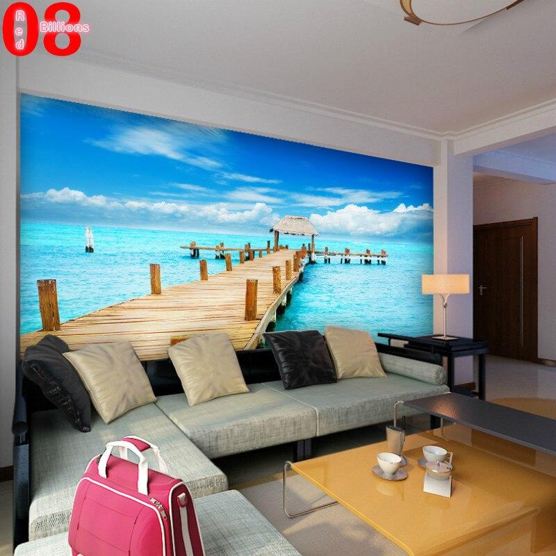 Sofa Ruang Tamu Background Dinding Stereoscopic Busana Mural Wallpaper Warna Biru Laut Foto Kertas Yang Modern Di Dari