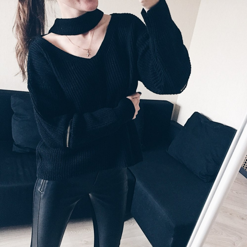 Fashion Women Autumn Winter Blouses Casual Loose Knit Sweater Women Hanging V-Neck Pullover Jumpers Women's Jumper Sweater