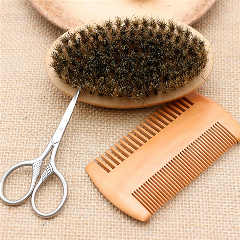 3Pcs Men's Beard <font><b>Brush</b></font> Kit Set Boar <font><b>Bristle</b></font> <font><b>Shaving</b></font> <font><b>Brush</b></font> Verawood Beard Comb Mustache Scissor Male Facial Beard Claning Tool