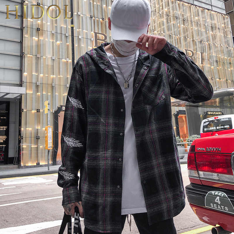 b5a119341 Flannel Oversize Plaid Check Shirts Hoodies Feather Print High ...