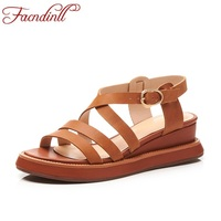 FACNDINLL Summer Shoes 2018 New Genuine Leather Woman Wedges Shoes Platform Sandlas Open Toe Women Casual