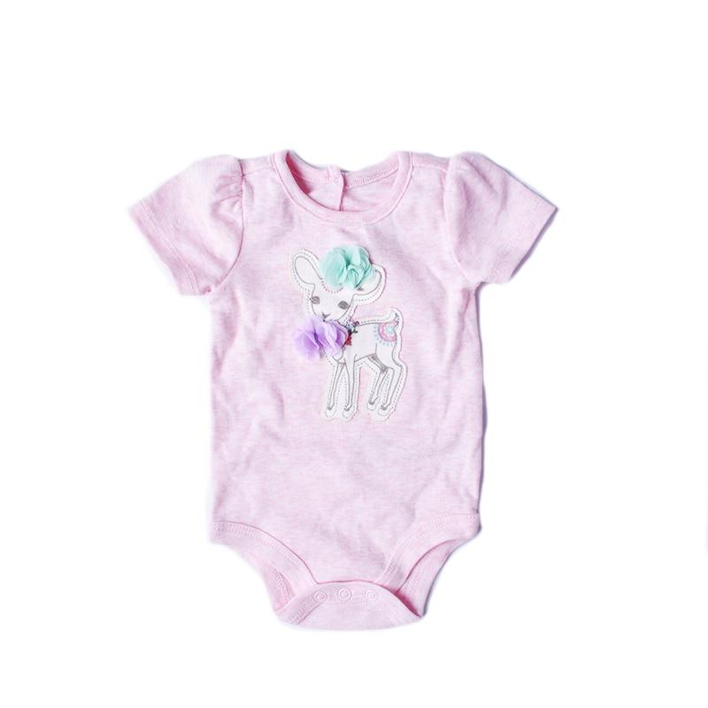 Girls rompers 2018 baby clothes cotton infant short sleeve summer jumpersuit for girl princess pink romper deer roupas de bebe