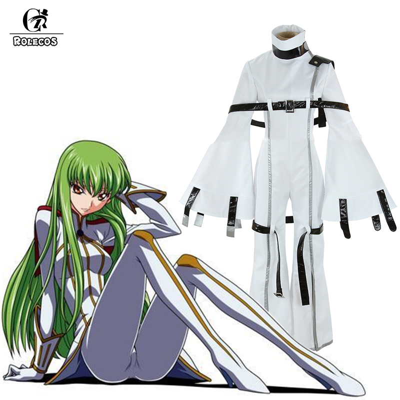 ROLECOS Brand Japanese Anime Code Geass: Hangyaku No Lelouch Cosplay Costumes C.C. Cosplay Costume White Strait-Jacket Jumpsuits