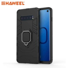HAWEEL For Samsung Galaxy S10 Phone Cover PC + TPU Shockproof Protective Case with Magnetic Ring Holder Pure Guard Shell