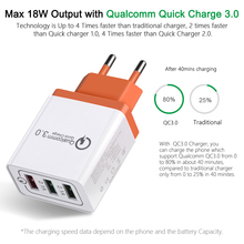 цена на Universal 18 W USB Quick charge 3.0 5V 3A for Iphone X 6 7 8 plus EU US Plug Mobile Phone Fast charger charging for Samsug s8 s9