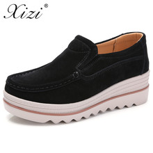 купить XIZI 2018 Autumn Women Flats Shoes Platform Sneakers Shoes Suede Leather Casual Shoes Slip on Flats Heels Creepers Loafers Women онлайн