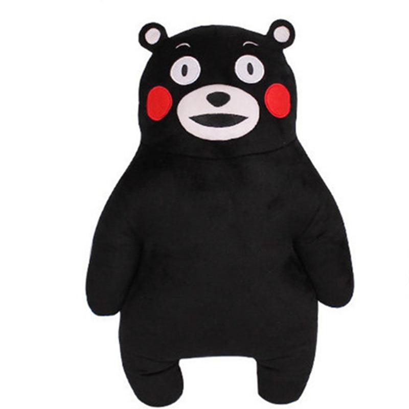 50CM Anime Japan Mascot Kumamon Bear Plīša spilvens Adorable Doll 2Styles Cartoon Black Bear Mīkstie pildīti dzīvnieku rotaļlietas bērniem