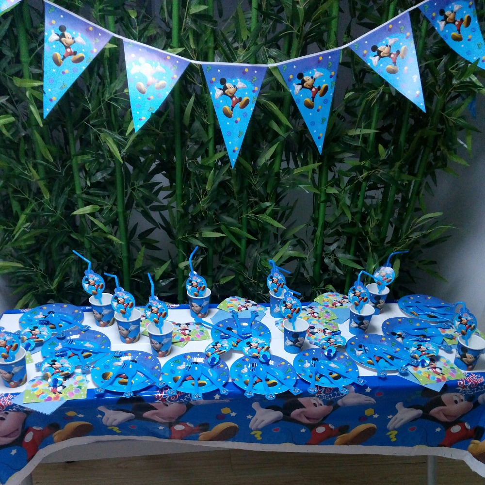 74pcs Mickey Mouse Party Supplies Plates Cups Invitation Cards Banner Birthday Party Decoration Set Festival Party Supplies