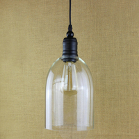 Modern Clear Bell Glass Pendant Lights Lamps Hanging Wine Bottle With Edison Bulb For Kitchen Dining