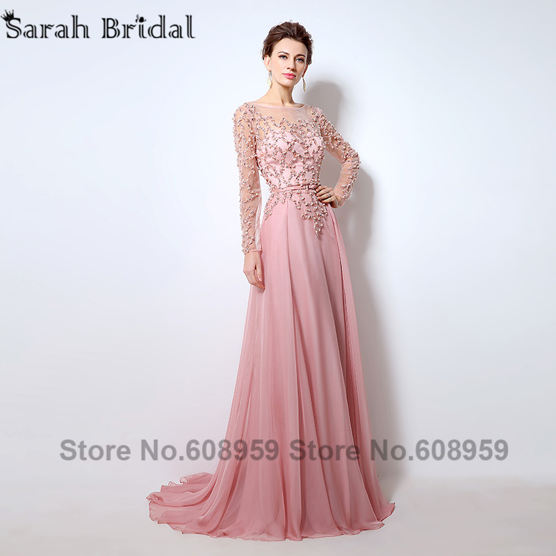 Sexy Sheer Long Sleeve Prom Dresses 2017 Dubai Rode De Soiree Pink ...