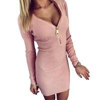 3 colors sexy deep V-neck zipper women dress cotton long sleeve solid skinny bodycon mini club dress vestidos HD173