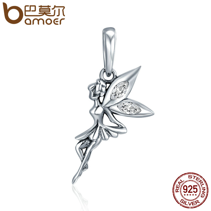 купить BAMOER Authentic 925 Sterling Silver Flower Fairy Dangle Pendant Charms fit Women Charm Bracelets & Necklaces jewelry SCC359 в интернет-магазине