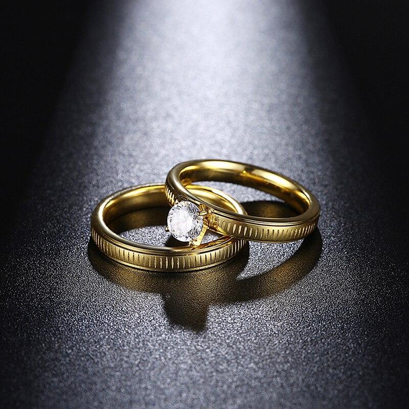 Чистый снег простой Стиль две золотые Цветные кольца Для женщин Кольца из нержавейки набор обещание Обручальные кольца Модные украшения