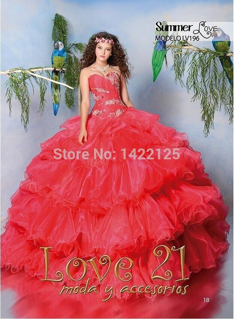 82b03273927 Watermelon Fairytale princess Sweetheart Ball Gown Love 21 Quinceanera  Dresses Crystal LV196 Organga Beads Vestido Prom Gown