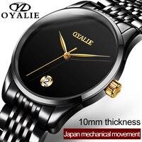 OYALIE Brand Men Full automatic Mechanical Watch Luxury Crystal diamond Fine Steel Japanese movement Man Multifunctional Watches