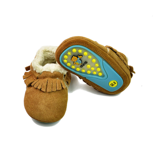 New Arrived Winter with fur handmade Genuine Suede Leather Baby Moccasins Toddler hard sole first walkers Anti-slip Baby Shoes