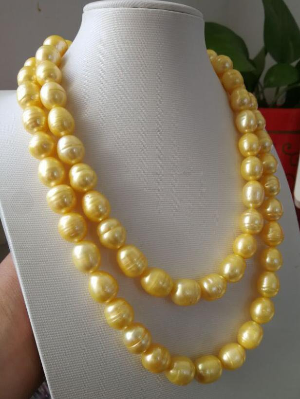 89b8e76accd1f Jewelry aaa 12 13 mm natural south sea gold pearl necklace 17 18 ...