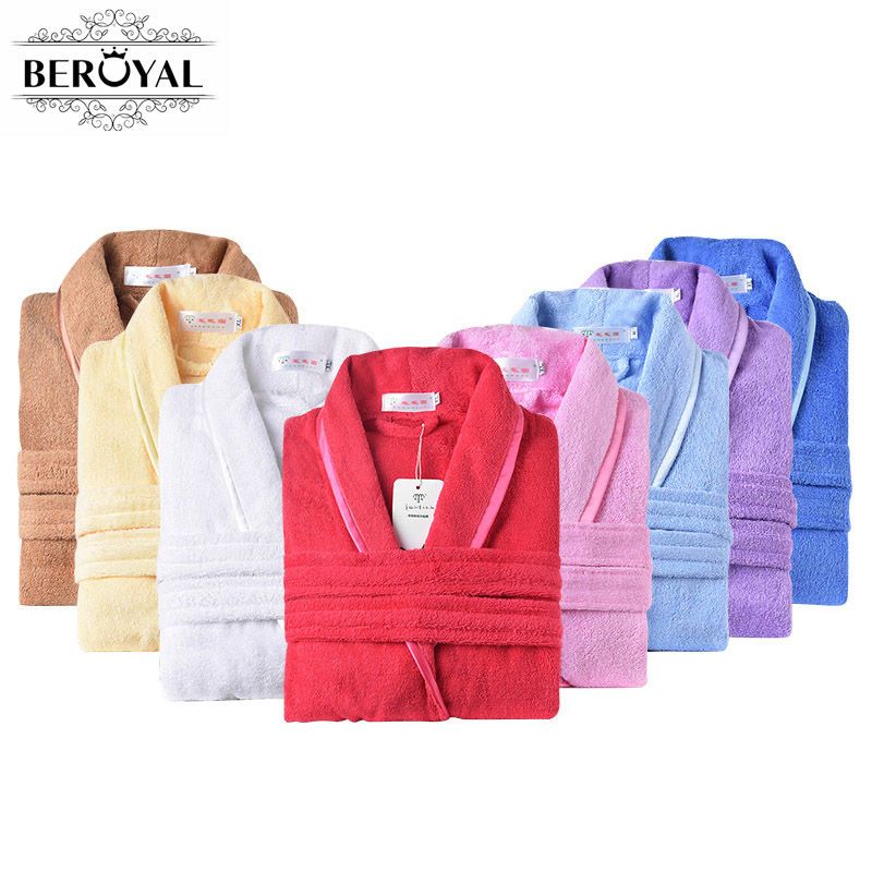 Beroyal 브랜드 목욕 가운 - 100 % 코튼 목욕 가운 가운 Unisex 솔리드 드레싱 가운 스파 목욕 가운 잠옷 두꺼운 긴 잠옷