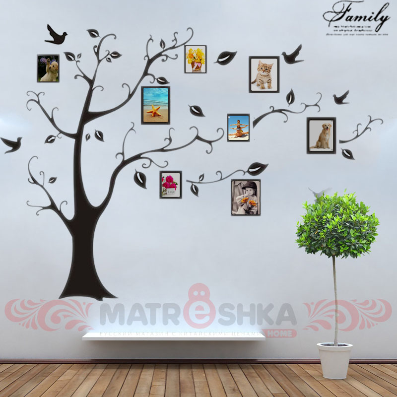 Diy wall stickers decals vinyl big family tree photo frame for Diy family tree wall mural