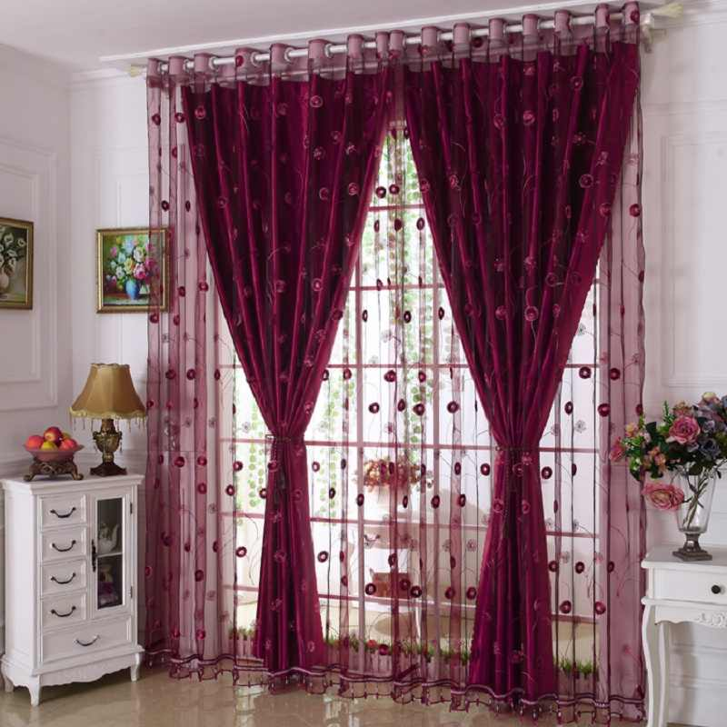 luxury embroidered window curtains set for living room european blackout curtains for the bedroom 1 pc curtain and 1 pc tulle